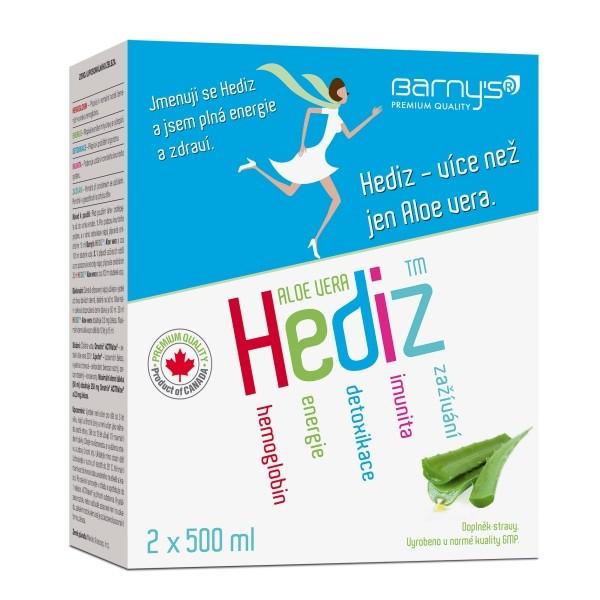 Barny´s HEDIZ™ Aloe Vera 2 x 500 ml - koncentrát z aloe vera pro energii a zdraví s obsahem Fe