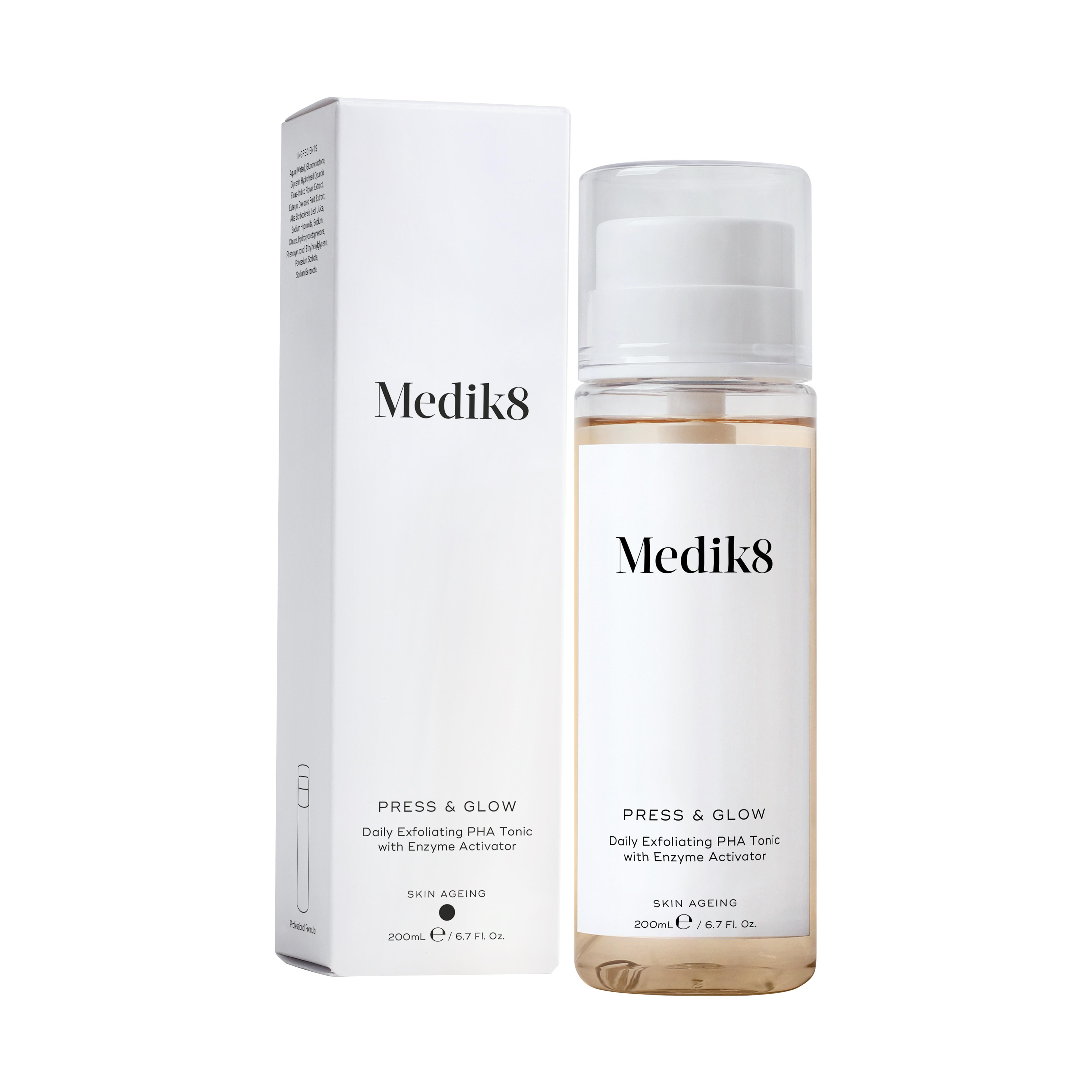 Medik8 Press & Glow 200 ml - exfoliační PHA tonikum s enzymy