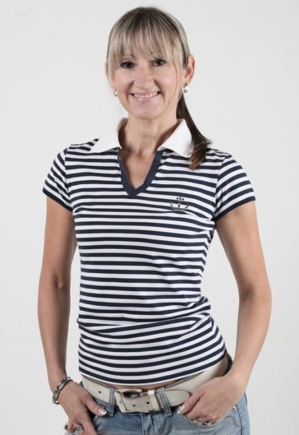 Námořnické POLO tričko pruhované s kotvou Swarovski