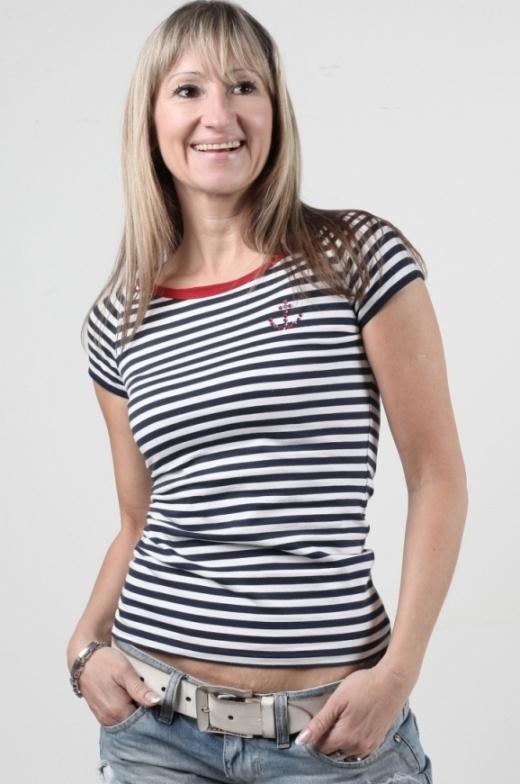 Tričko námořnické pruhované s kotvou Swarovski – červený lem