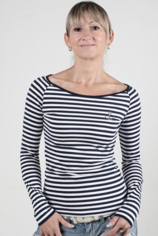 Námořnické tričko s kotvou Swarovski dlouhý rukáv