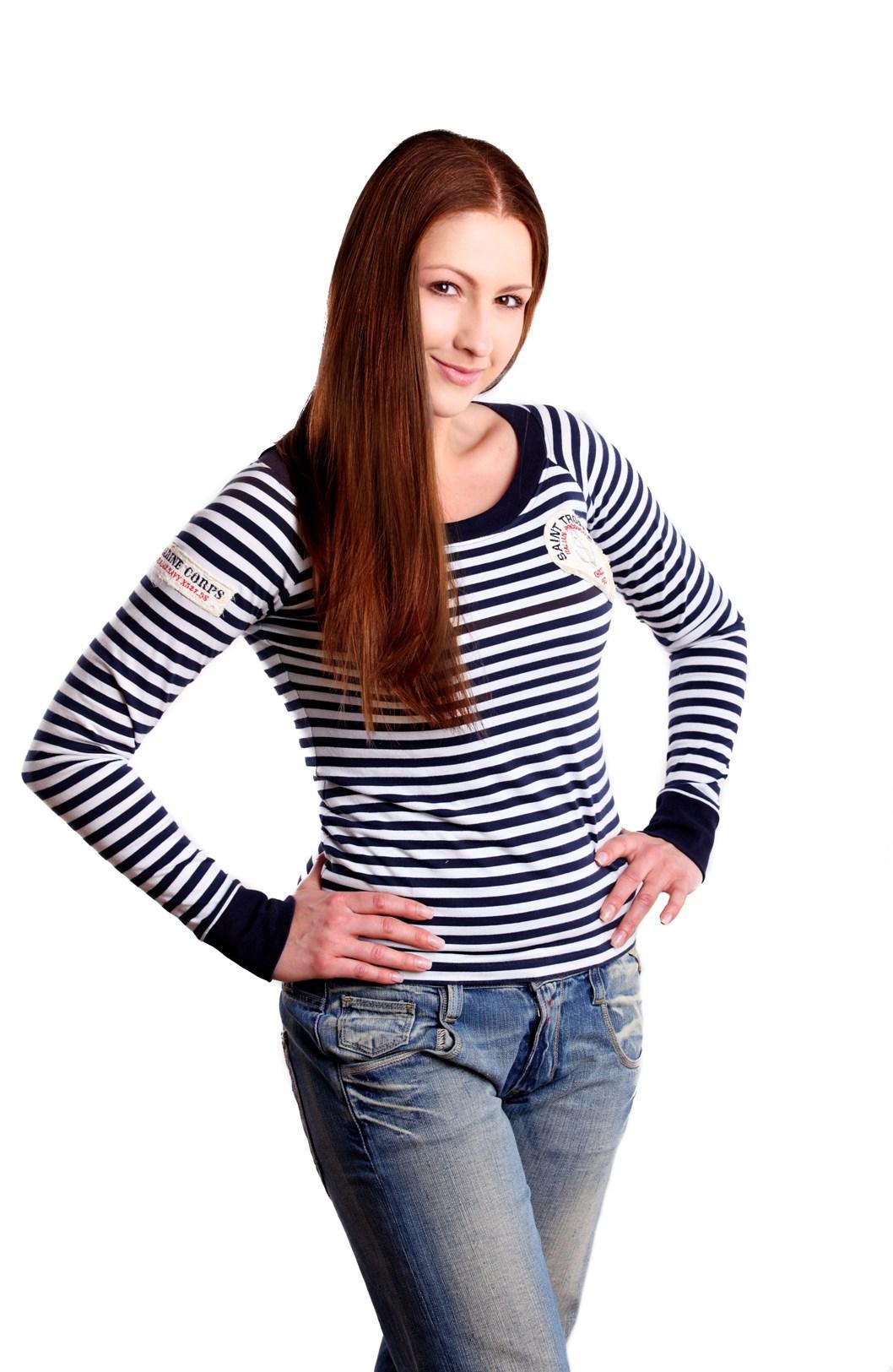 Námořnické tričko s dlouhým rukávem a modrým lemováním