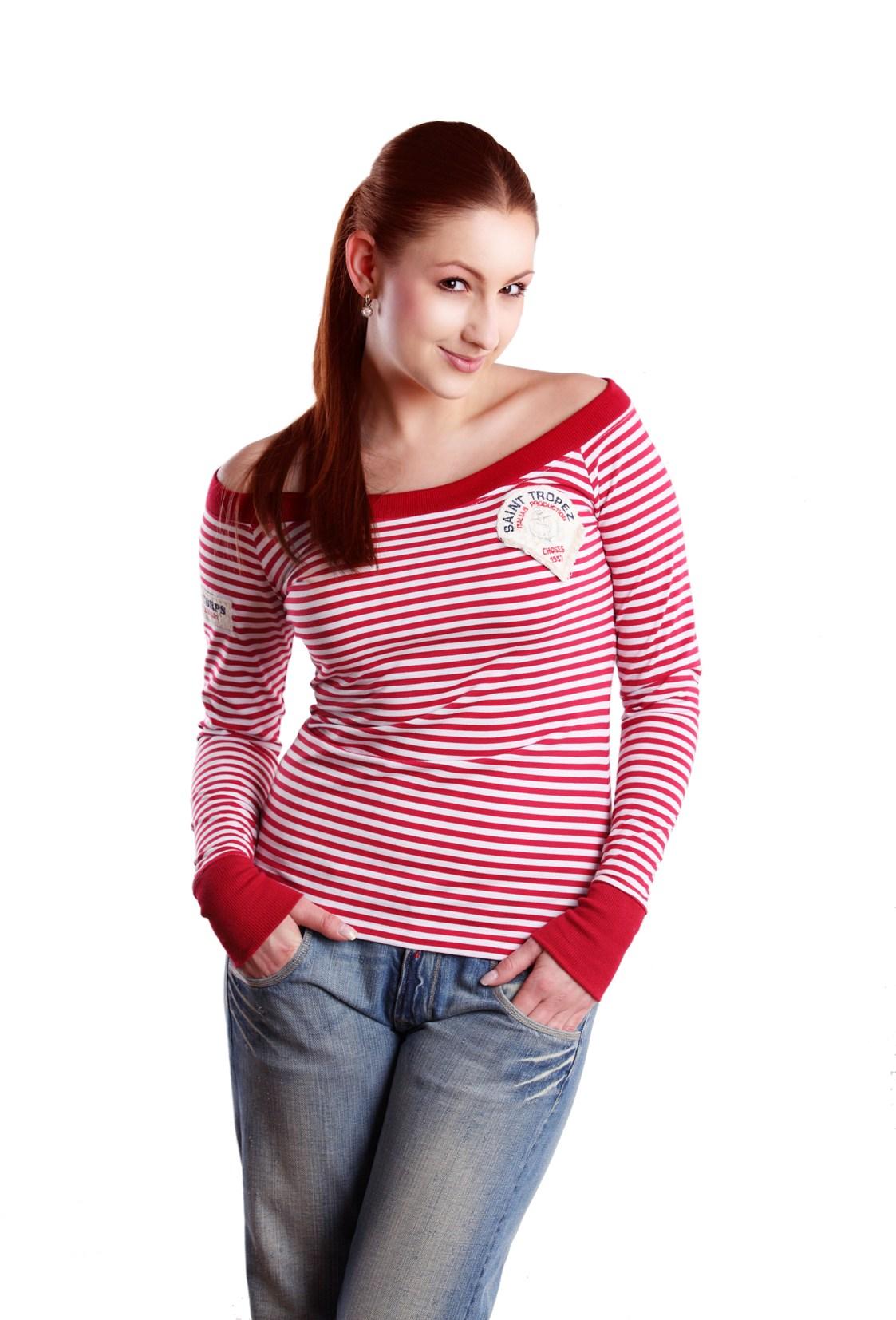 Námořnické tričko RedBerry s dlouhým rukávem a širokými náplety