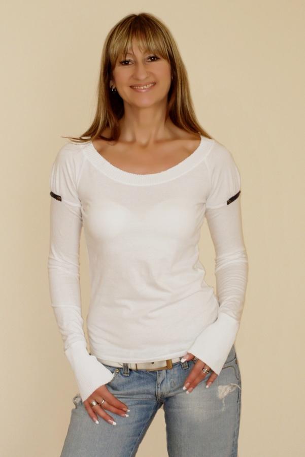 Tričko TOP4YOU s dlouhými nabíranými rukávy (bílé)