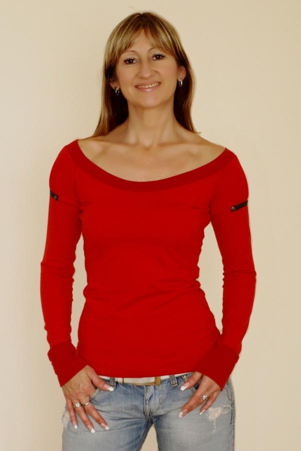 Tričko TOP4YOU s dlouhými nabíranými rukávy (červené)