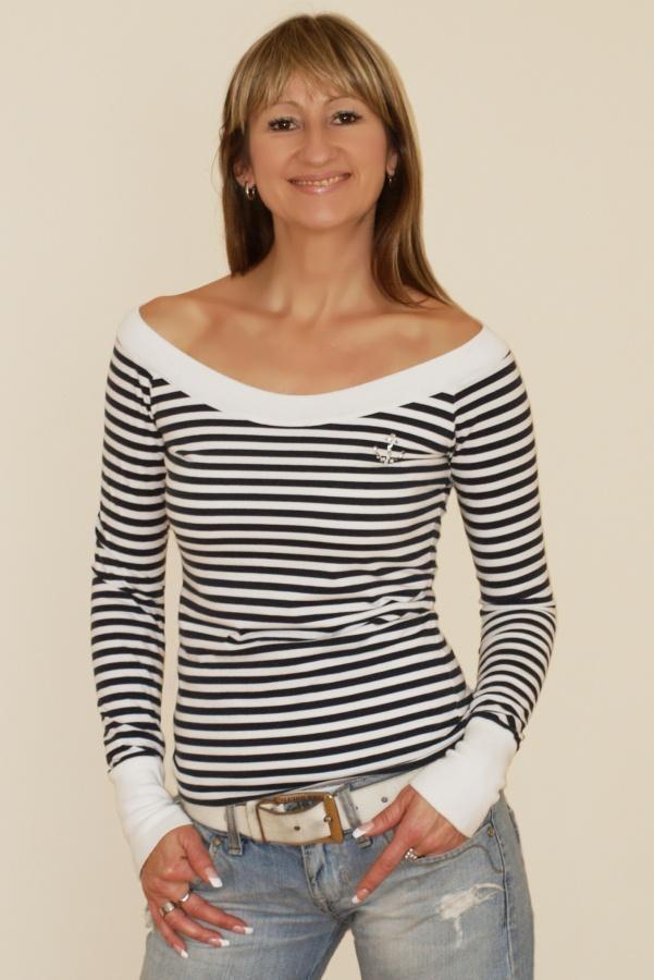 Námořnické tričko s dlouhým rukávem a bílým lemováním